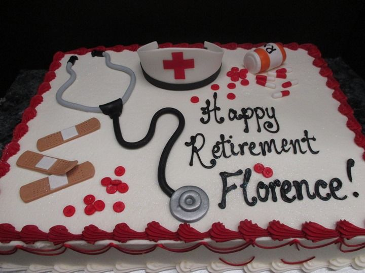 Nurse Retirement Cake | #542 Special Occasions. I would have a serving spoon and fork with a pan, my mom is a cook.