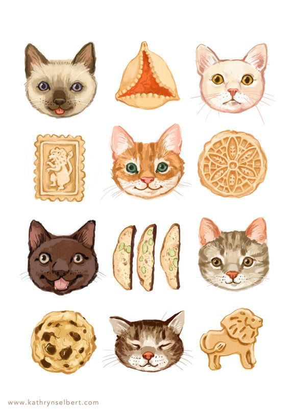 Fine Art Print - Cats and Cookies Illustration Okay, @Rebecca Brown , I'm kind of obsessed with these right now.