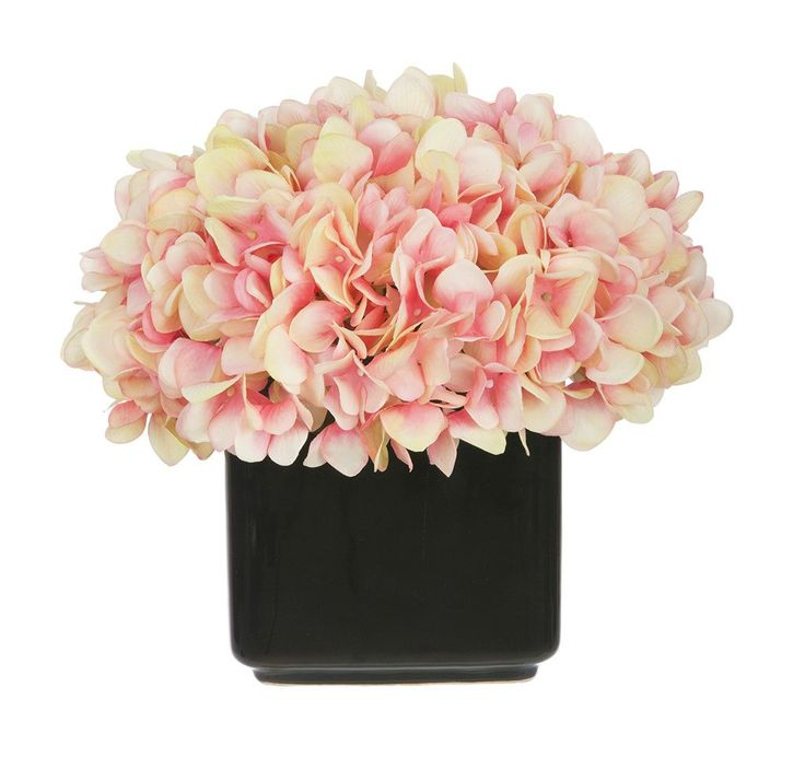 house of silk flowers artificial hydrangea in small black cube ceramic color