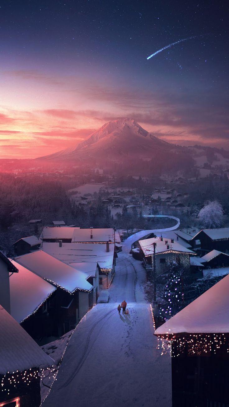 Android Wallpaper Mountain View And Snowy Village Illustration Art Digitalart Digitalpainting D Mypin Weihnachtslandschaft Schone Tapeten Fotografie Ideen