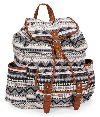 True weekend warriors can easily see how essential our Southwest Backpack is for hauling stuff in style! With a roomy cinch-top interior, a magnetic-snap pocket and two open side pouches, it's got plenty of room for your belongings; a cool boho pattern delivers fresh attitude fit for your coolest looks.