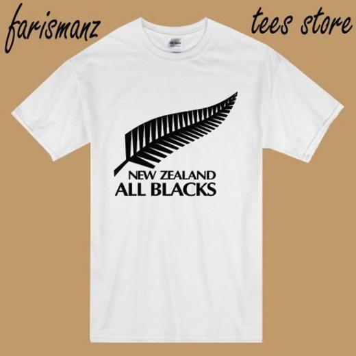 Gildan New Zealand All Blacks Rugby Team Logo Men's White T-shirt Size S To 3xl Basic Tee Regular 100% Cotton Short Sleeve Solid United States Music Movie Sports Etc