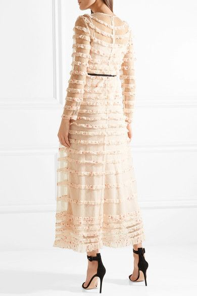 e8da8be1e9ee REDValentino   Ruffled point d esprit tulle and printed silk-georgette midi  dress   NET-A-PORTER.COM