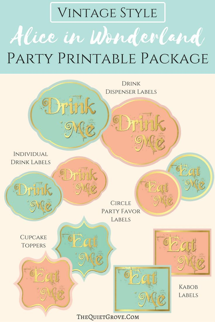 Don't you just love these Vintage Alice in Wonderland Party Printables?