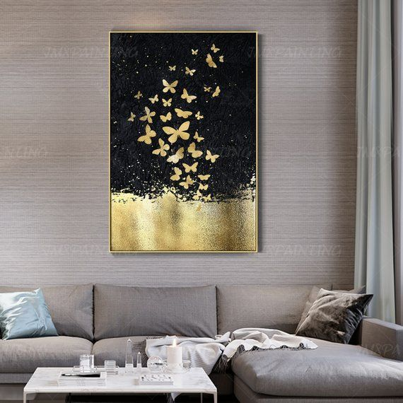 Gold Leaf And Silver Leaf Set Of 2 Wall Art Abstract Butterfly Paintings On Canvas Original Wall Pictures Framed Wall Art Cuadros Abstractos In 2020 Blue Abstract Wall Art Butterfly Painting