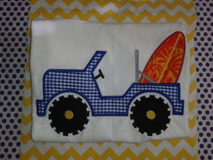Adorable Surfboard Jeep Appliqué Shirt or Onesie * Custom Embroidery * Beach Shirt * Surf Board Shirt by RockintheTutu on Etsy