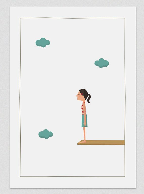 Illustration. Jump to the space Girl.  Print A4. by Tutticonfetti, $19.00