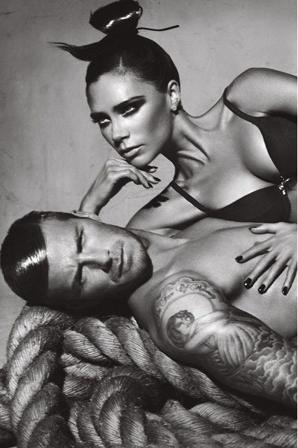 Mr and Mrs Beckham as the campaign stars of Emporio Armani underwear.