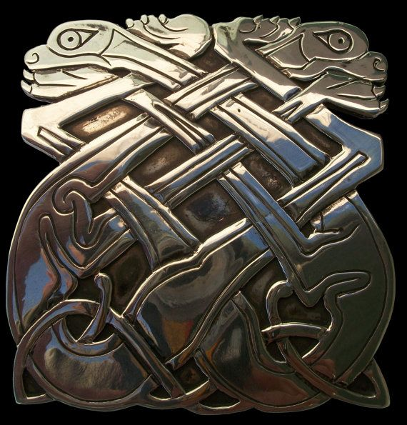 925 Solid Sterling Silver Celtic Dog Belt Buckle by Silveralexa