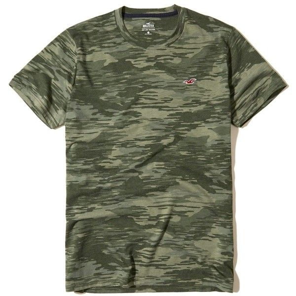 Hollister Must-Have Camo Crew T-Shirt ($18) ❤ liked on Polyvore featuring men's fashion, men's clothing, men's shirts, men's t-shirts, green, mens slim fit t shirts, mens crew neck t shirts, j crew mens shirts, mens slim t shirts and mens slim fit shirts