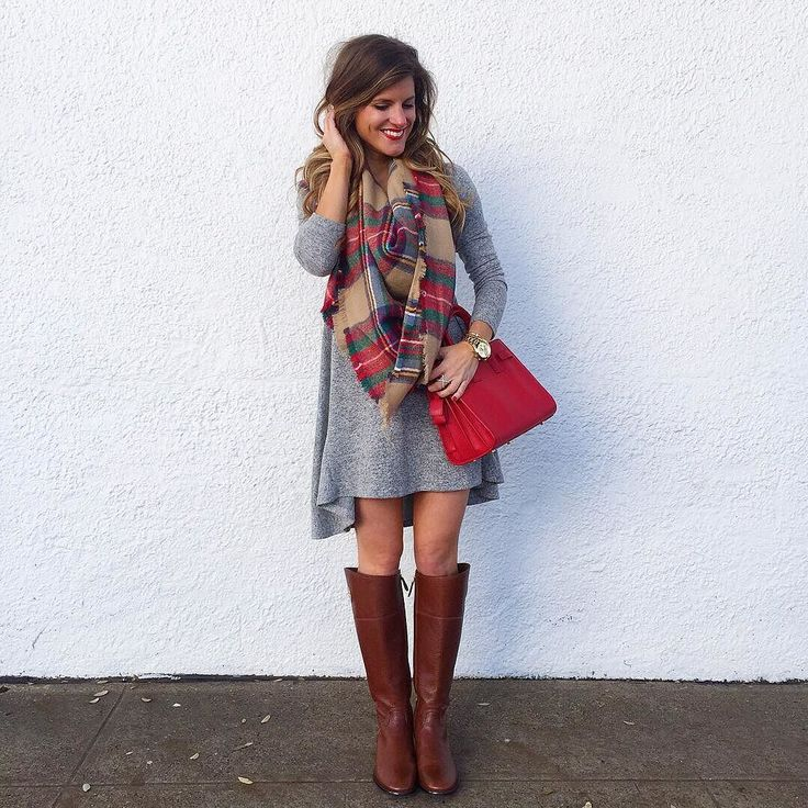 grey swing dress, plaid blanket scarf, red YSL sac du jour crossbody bag, tory burch riding boots, swing dress outfit, cute fall outfit idea, casual fall outfit