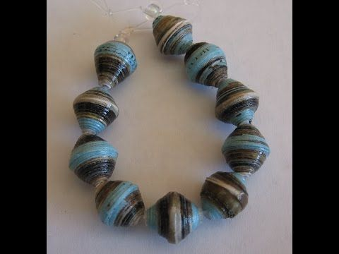 Making a bicone paper bead - YouTube