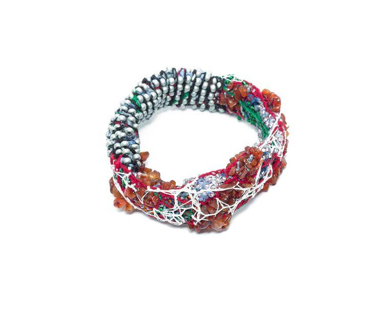 Sébastien Carré Bracelet: Inflammation #5, 2014 Japanese paper, cornaline gems, beads, silk Ø 11 X 4.5 cm Photo by: Milo Lee From series: Inflammation Project
