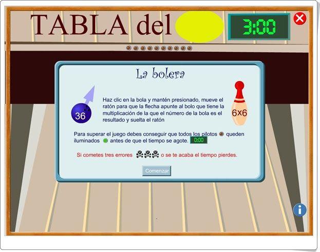 """""""La bolera"""" (Tablas de multiplicar)"""
