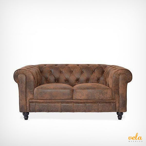 Sofá vintage modelo chester color marrón de 2 plazas. Decorativo y elegante quedará perfecto en tu salón o comedor. Mira qué oferta ahora
