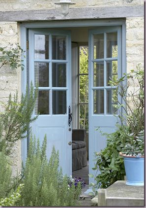French blue, French doors--entry on long side of tiny house?  Eliminate front door and create more floor space?