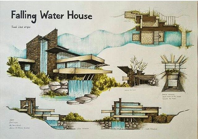 Falling water house by @faeze_a75 _______________________________ #Bestsketch #architecture #sketch #handdraw #architect #architecturestudent #drawing #art #architecturesketch #arquitectura #illustration #archsketch #archilovers #concept