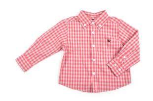 Camisa para bebé niño, con diseño de cuadritos en frambuesa y gris. Mangas largas.