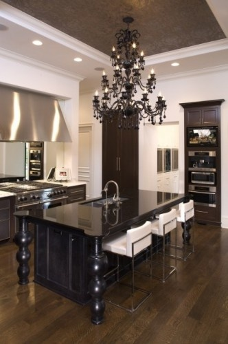 love this kitchen!: Kitchens Design, Dreams Kitchens, Dreams Houses, Contemporary Kitchens, Black And White, Black Kitchens, Kitchens Islands, Modern Kitchens, White Kitchens
