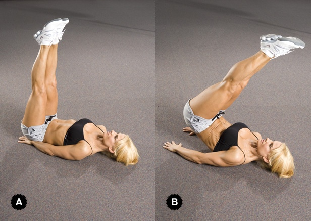 Reverse Crunch: Deitada no chão, posicione suas mão debaixo do seu quadril. Levante as duas pernas juntas inciando o movimento com a parte inferior do seu abdômen, tirando seu quadril do chão apontando os seus pés levemente em direção a sua cabeça. Segure o corpo por um segundo e desça vagarosamente até a pocição incial e repita o exercício. (15 repetições)