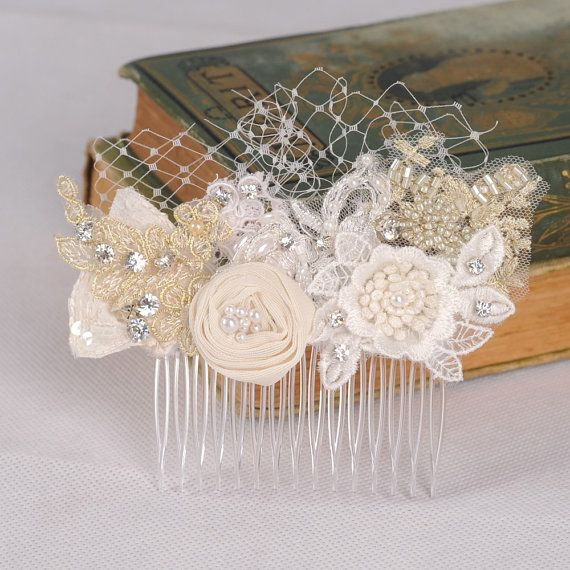 Bridal Flower Comb Flower and Lace Headpiece by VelvetTeacup, $69.00
