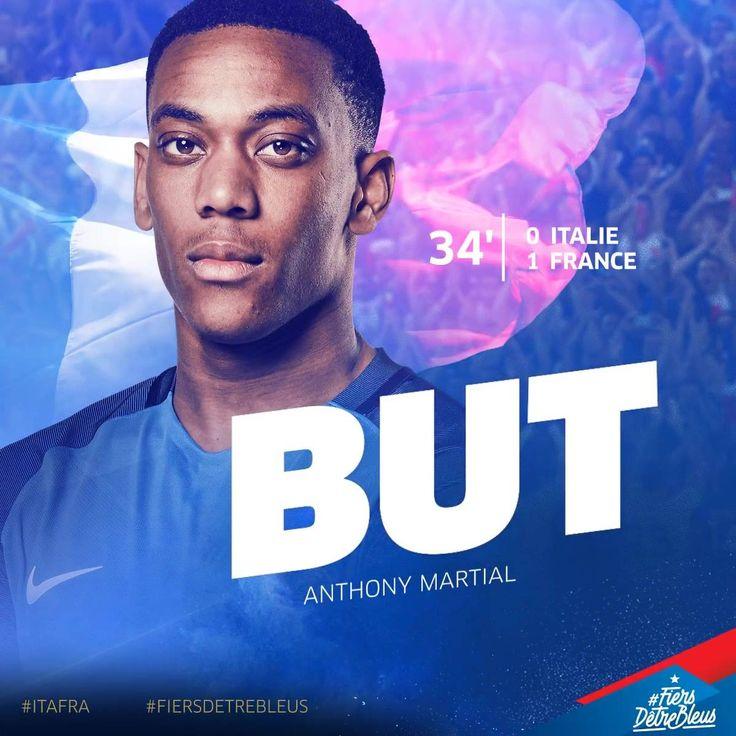 Et l'ouverture du score d'Anthony Martial !! 1-0 pour les Bleus! #ITAFRA