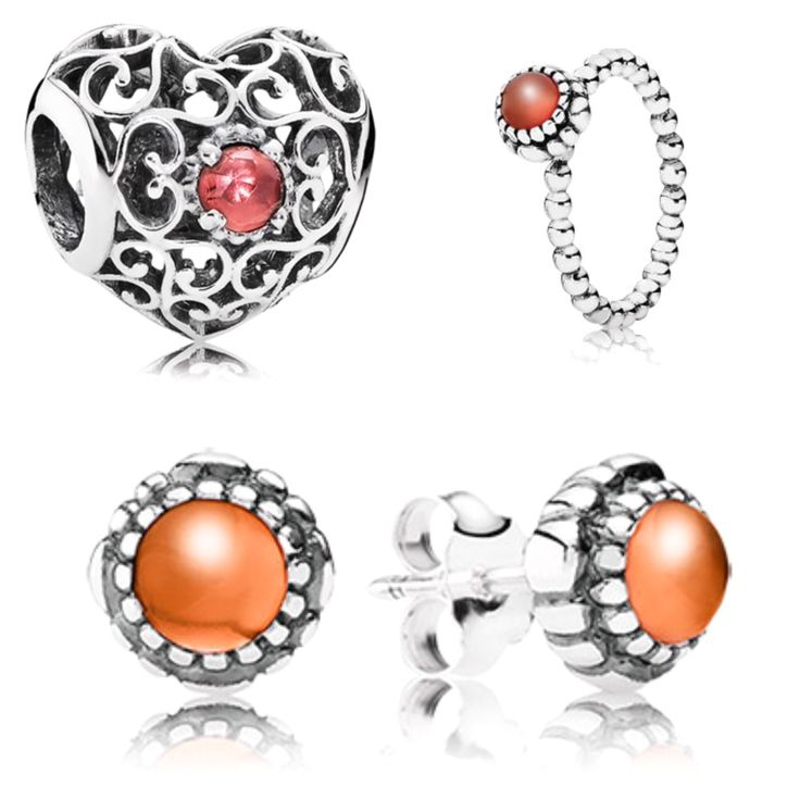 Pandora's birthstone range for July is Carnelian and synthetic Ruby in sterling silver.   Carnelian is a bright and fiery gemstone said to keep you free of jealousy and anger. The July birthstone range includes birthstone earrings, ring and openwork heart perfect gift for July birthdays!  From £35.00  www.knightjewellers.com #Pandora #july #birthstone #KJ