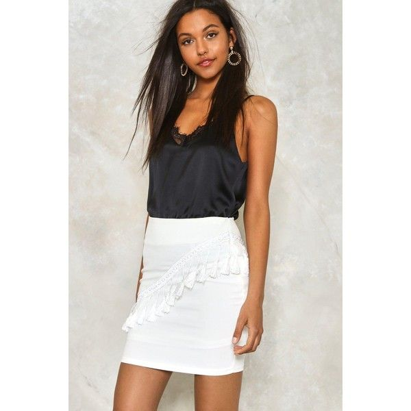 Nasty Gal Tassle Mini Skirt ($40) ❤ liked on Polyvore featuring skirts, mini skirts, white, white high waisted skirt, white bodycon skirt, zipper mini skirt, bodycon skirt and white short skirt