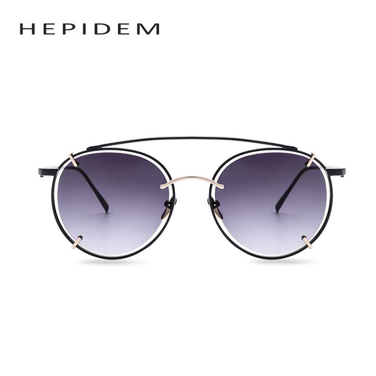 HEPIDEM Brand Designer 2017 Round Vintage Sunglasses Women Steampunk Oculos Points Retro Metal Luxury Sun Glasses Eyewear H717
