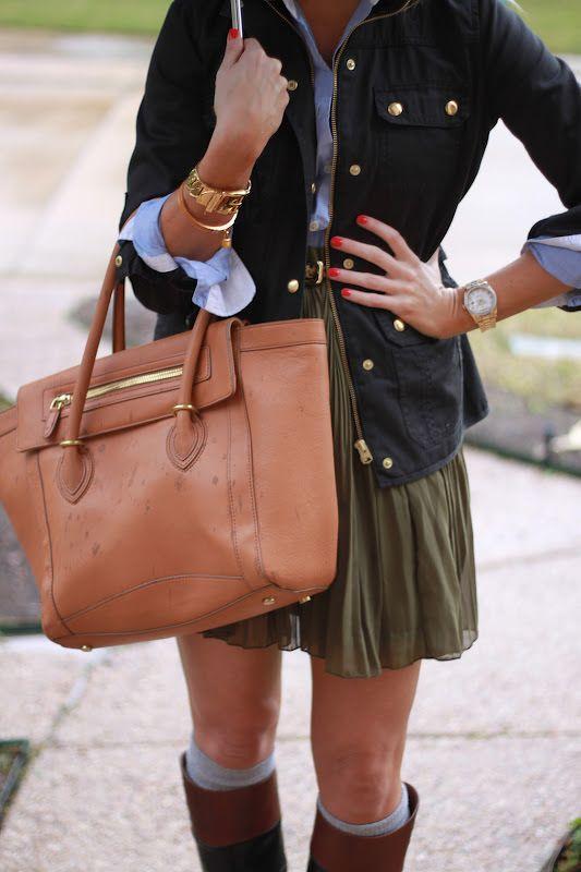 military jacket + oxford shirt + lightweight pleated skirt + belt + boot socks + boots