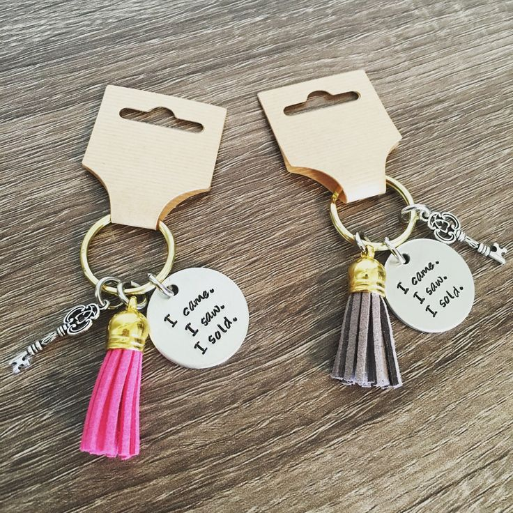 Perfect real estate agent keychain! Hand stamped tag with vintage looking key charm and colored tassel of your choice. These make great gifts for agents, yourself and your team!  *Can be ordered in bulk!