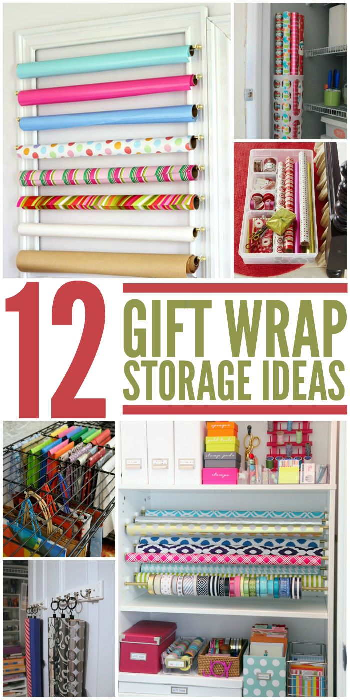 Genius!  Create a gift wrap zone with these storage ideas.  Perfect for wrapping gifts this Christmas!