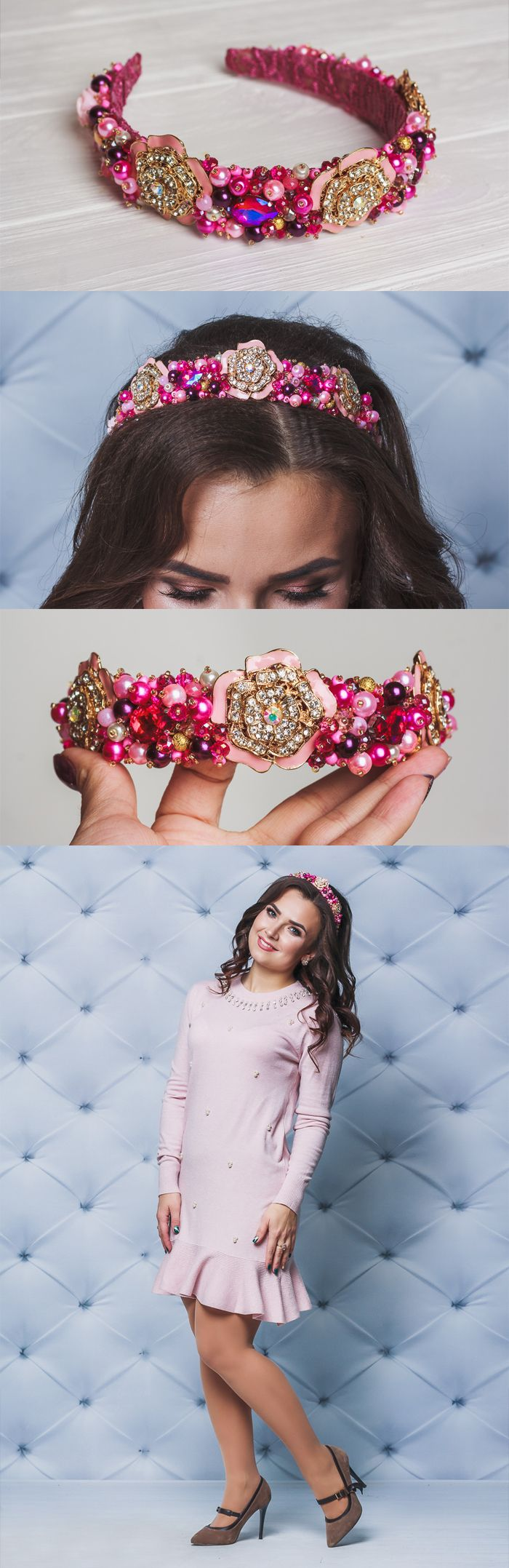 Pink dolce headband Wedding crystal crown Pageant tiara Floral barbie prom Rhinestone headband Gold bridal crystal Boho wedding crown tiara