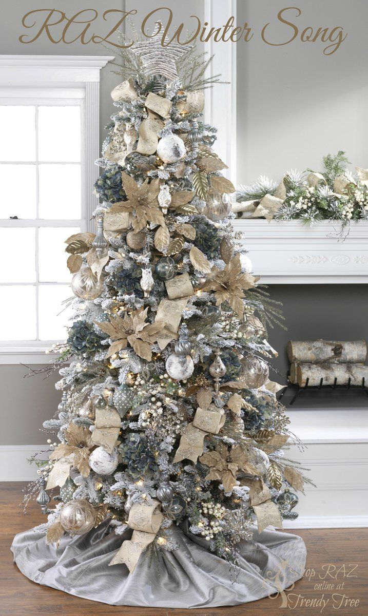Christmas tree decorations silver - White And Tan Christmas Tree Christmas Decorations