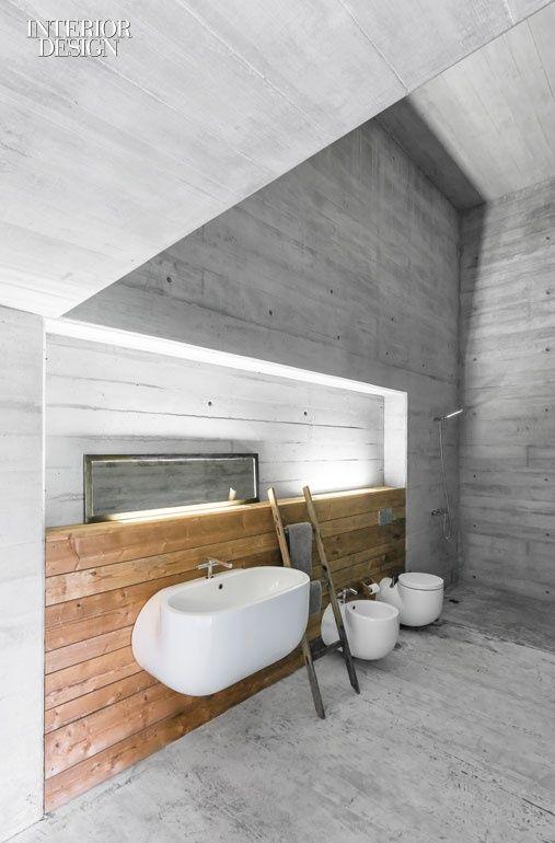 Sculptural ceramic bathroom fixtures.