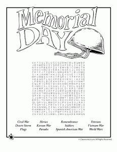 Memorial Day activity sheets