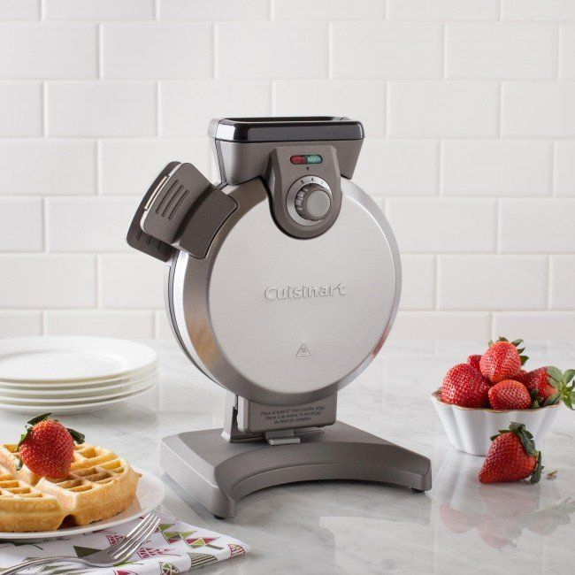 The brushed stainless steel Cuisinart-s Vertical Waffle Maker takes up less room on the counter while making foolproof perfect Belgian waffles. Just add your favourite batter through the spout up to the fill line for consistent waffle thickness, top to bottom and side to side, that won-t spill over the edges. Indicator lights and an audible alert, plus five browning levels, guarantee crowd-pleasing waffles are perfectly baked for all your family and friends.