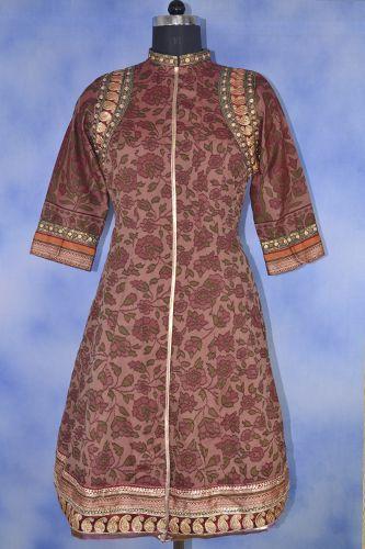 Cotton Silk Printed Formal Kurti, Cotton silk fabric, Floral print all over kurta, Zari border on armhole ,sleeves and bottom.