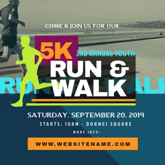 5k Run Walk Instagram Post In 2021 Sport Poster Poster Template Instagram Posts