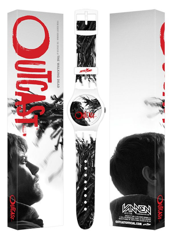 Vannen and Skybound have teamed up again to release a new, limited edition San Diego Comic-Con exclusive timepiece for the hit Cinemax TV series, Outcast. The new Outcast watch is limited to 250 pieces and is available now for $65 at Skybound SDCC booth 2729 and throughout the weekend while supplies last. #SDCC #SDCCexclusive #SDCCexclusives #SDCC2016 #Outcast #Skybound #watches #ComicCon #SanDiegoComicCon