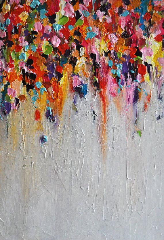 "Items op Etsy die op Abstract Painting on Panel Original Painting Rainbow Rain Heavy Textured Art 15""x22"" lijken"