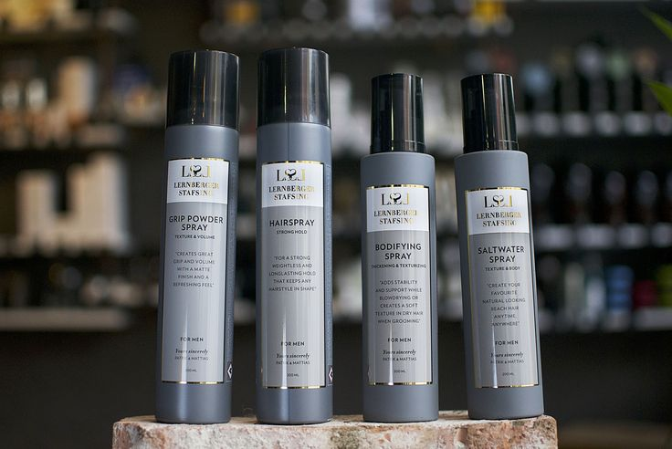 Four kinds of hair spray for men. Lernberger Stafsing's wonderful brand Mr LS has an incredible scent! Youa can find it at Royal Treatment, a berbershop in Ägelholm, Sweden or on www.royaltreatment.se