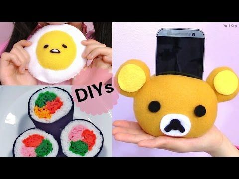 3 DIY Room Decors:DIY Sushi Plush+DIY Rilakkuma Plush Phone Holder+DIY Gudetama Lazy Egg Plush, My