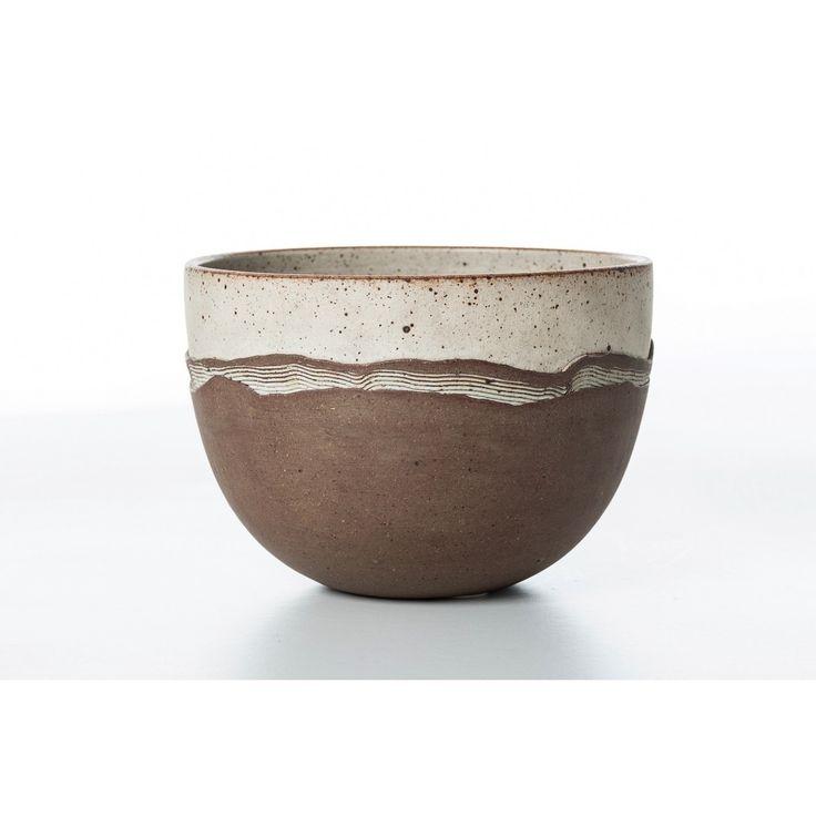 Vaso designer Richard Manz produzione Danimarca anni 70 colori beige marrone in ceramica