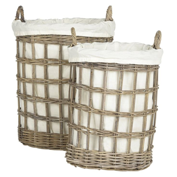 $158.00 Safavieh Adisa Wicker Hamper - Two In One The utilitarian hamper gets a fashion makeover in this stylish grey basket style updated by master weavers with contemporary cutouts in its kubu rattan form. Easy to carry, with self handles and even easier on laundry day with a removable cotton liner.