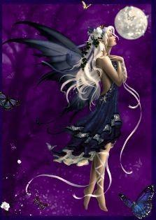 Tündérek lila háttér Hold