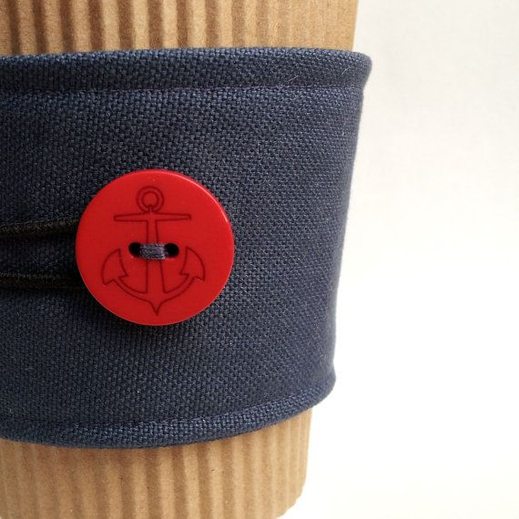 Navy Blue Canvas Cup Cozy with Red Anchor Button