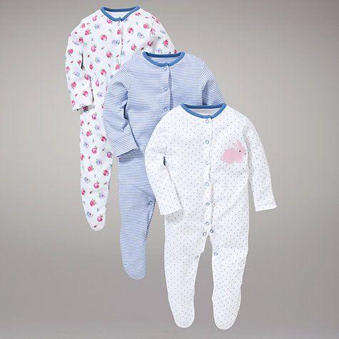 Buy John Lewis Baby Floral Bunny Sleepsuits, Pack of 3, Blue/Pink Online at johnlewis.com
