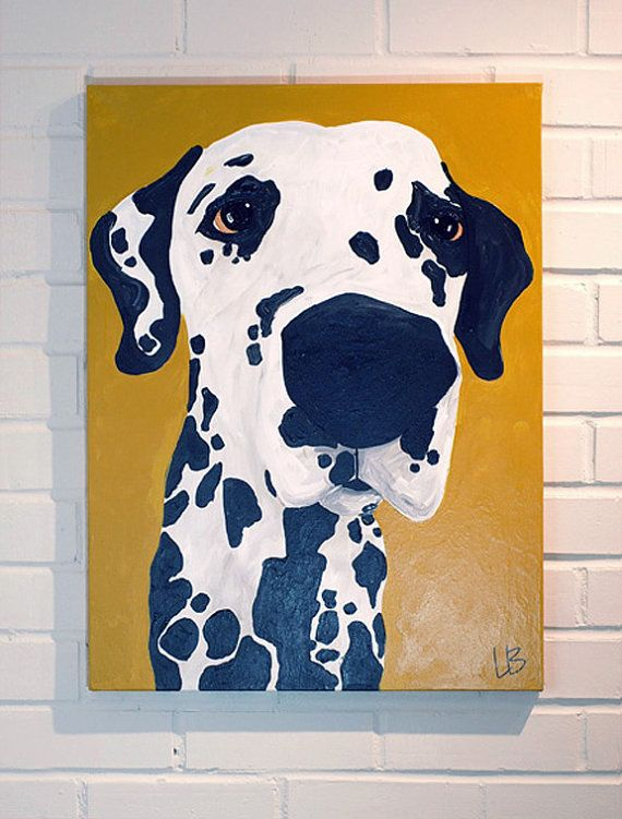 How cute would this be in a little boy's firefighter themed bedroom? Acrylic Dalmatian Dog Painting on 18x24 Gallery by LoganBerard, $150.00.
