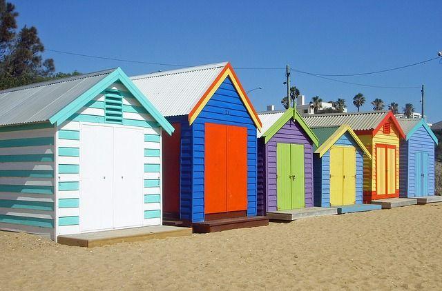 Melbourne, Beach, Cottages, Colorful, Sea, Beach Hut